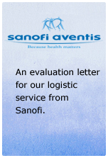 An evaluation letter for our logistic service from Sanofi